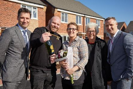 Left to right: Martin Smithurst (ENGIE Chief Operating Officer  North), new residents Rebecca and Martin, Mayor Ros Jones (Doncaster Council) and Steve Hepworth (Chief Executive at Ongo).