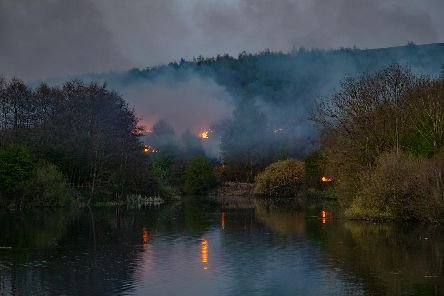 A huge grass fire beside Ulley Reservoir in Rotherham (pic: Steve Bradley (www.trioto.co.uk))