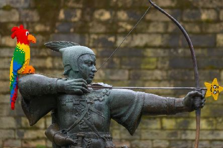 The new addition to the Robin Hood statue.