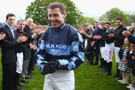 A guard of honour for Richard Johnson, who will be crowned champion Jumps jockey again at the bet365 Jump Finale at Sandown Park on Saturday. (PHOTO BY: Michael Steele/Getty Images).