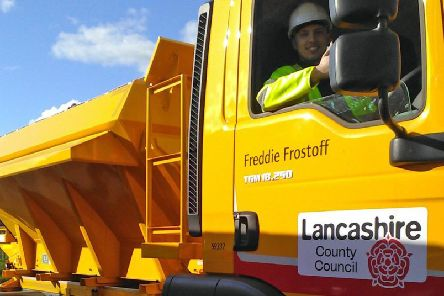 Operating from Singleton depot, Fylde: gritting lorry Freddie Frostoff with driver Cameron Newsham