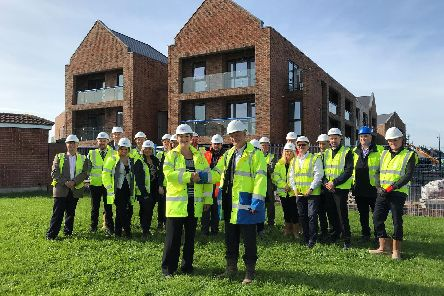 The topping out ceremony outside Lighthouse View earlier this year (Picture: Regenda Homes)