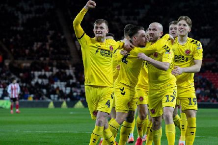 Fleetwood Town celebrate Barrie McKay's goal at the Stadium of Light