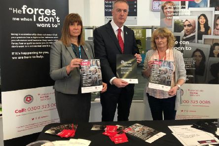 From left, Julie Vigo-Saunders, Health ISVA coordinator at Blackpool Teaching Hospital; Clive Grunshaw, Lancashire Police and Crime Commissioner; Gaye Soruri, Senior ISVA for Lancashire Victim Services.