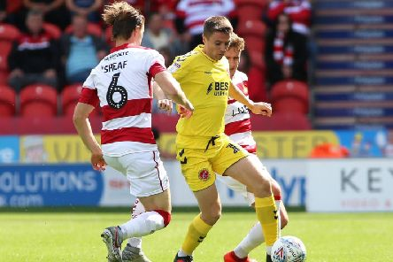 Jordan Rossiter suffered an eye injury celebrating Fleetwood's first goal at Doncaster