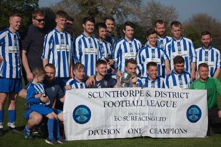 Scotter United celebrate winning the Scunthorpe and District League's First Division title last season.