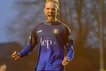 Nicky Walker celebrates his hat-trick goal on his second debut for Gainsborough Trinity to record his first ever senior treble. PHOTO: John Rudkin