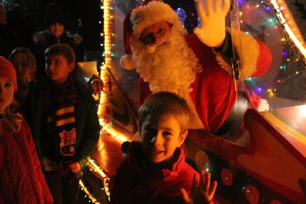 Santa arrives at last year's Christmas lights switch-on in Misterton.