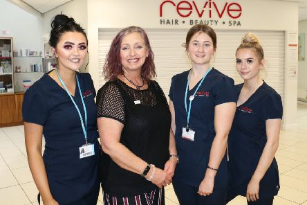 Former student Louise Summerscales with current spa therapy students at West Nottinghamshire College, from left: Alicia Anthoney, Emily Cotton and Chloe Drury
