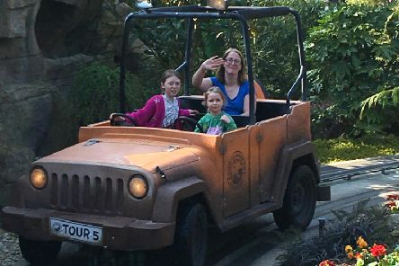 Fun with The Dinosaur Tour Co. ride at Paultons Park.