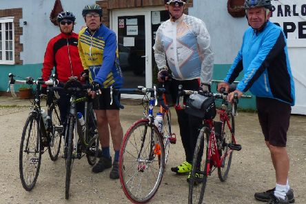 Aegir Riders take a break during the club's latest leisure ride.