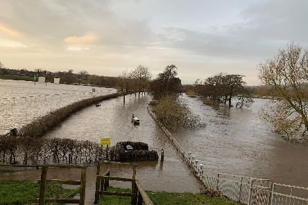 Garstang under water : from left rugby pitch, Millennium Way and River Wyre