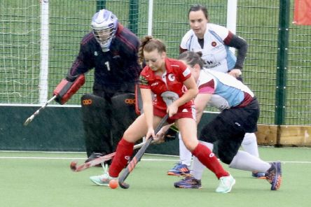 Garstang Hockey Club's Caitlin Ball in front of goal
