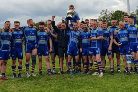 Garstang RUFC celebrate their Lancashire Bowl victory against Thornton Cleveleys at the weekend