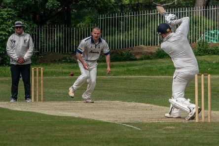 Mike Wellings hits a boundary in his top score for Garstang      Picture: Tim Gilbert/Preston Photographic Society
