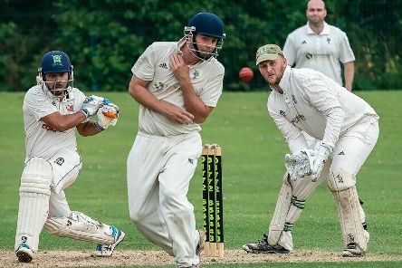 Garstang's Punit Bisht hits out on his way to a century against Fulwood and Broughton