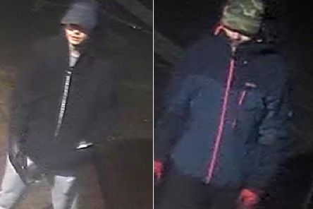Detectives want to identify these men in connection with a fire at ASDA supermarket