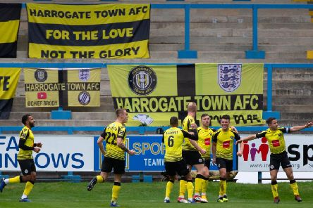 Halifax 1-2 Harrogate, The Shay, FA Cup fourth qualifying round. Photo: Bruce Fitzgerald.