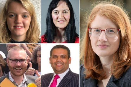 Halifax candidates from top left clockwise  Bella Jessop (Green Party), Sarah Wood (Brexit Party), Holly Lynch (Labour), Kashif Ali (Conservative), James Baker (Liberal Democrat),