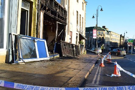 Two police officers cordoned off the scene on Tuesday morning