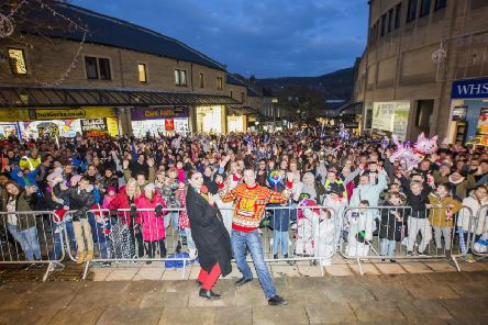 Halifax Christmas lights switch-on at The Woolshops. Pulse Breakfast presenters Rosie Madison and Danny Mylo with the crowd.