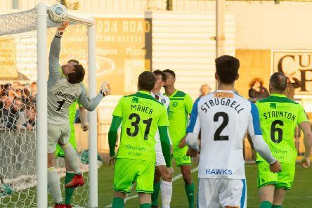 Town keeper Sam Johnson just fails to clear a Nicke Kabamba cross which earns the Havant player a goal in the game between the two sides earlier this season, in which Havant won.''Picture: Keith Woodland