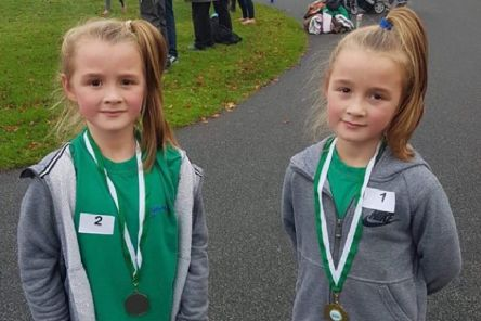 Identical twins Alesha and Lily Atkinson finished first and second  at the West Yorkshire Schools cross country championships.