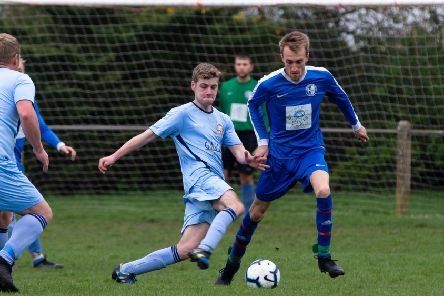 Actions from Lee Mount v Hollins Holme, at Shroggs Park. Pictured is Jordan Ryder and Ryan Jefferys