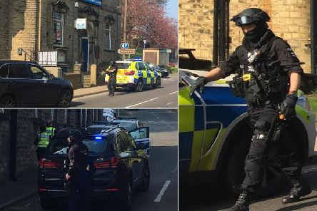 Armed police in Ripponden (Pictures by Michael White)
