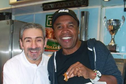 Boxer Sugar Ray Leonard visiting West Vale Fisheries