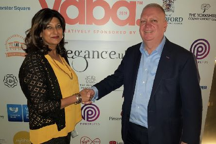 Support campaign: YABA director Sharon Jandu with Mid Yorkshire Chamber of Commerce MD Martin Hathaway.