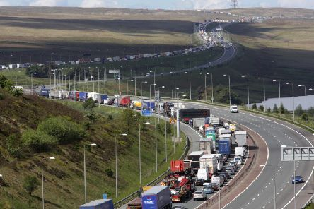 The M62 from Scammonden looking towards Manchester where the smart motoway system will be introduced.