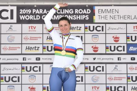 Dame Sarah Storey taking part in Para-Cycling International from Tadcaster