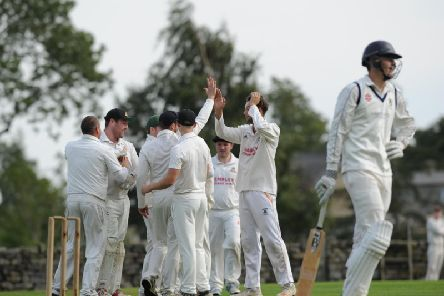 Darley CC celebrate a wicket during Saturday's win over Masham, a result that saw them crowned Theakston Nidderdale League champions.Picture: Gerard Binks