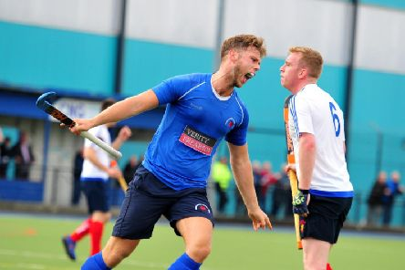 Charles Edmondson celebrates after firing Harrogate Hockey Clubs Mens 1s into an early lead against Chester at Ainsty Road. Picture: Gerard Binks