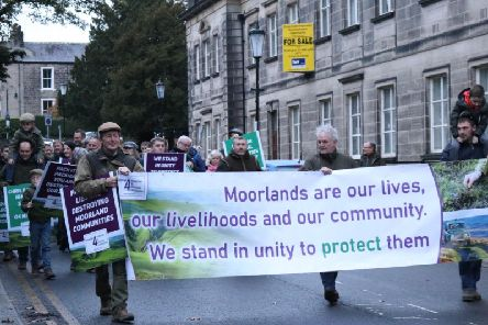 Members of the Moorland communities protesting outside the Royal Hall on Saturday.
