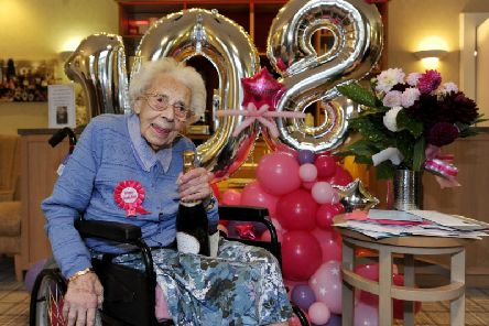 Dorothy Flowers celebrates her 108th birthday in style at Southlands Care Home, Harrogate.