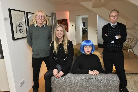 Photo call for the film Run Kara by Growler Films at one of the locations, Poliform in Harrogate. Pictured are Henry Thompson, director; Karen Bridgett, writer; Marthe Taylor, actor and production assistant;  Brian Madden, producer. (Picture by Steve Riding)