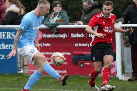 Knaresborough Town's match-winner, Adam Baker, in action during Saturday's home success over Barton Town. Picture: Craig Dinsdale