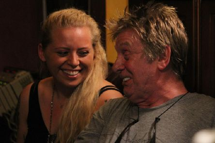 Number one in the charts - Harrogate singer Holly Rose Webber with legendary British musician Joe Brown.