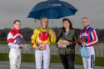 Rachel Richardson, Andrew Mullen and Paul Mulrennan, professional jockeys, with Charlotte Fortune from The Harrogate Homeless Project. Picture by Charlotte Graham'.