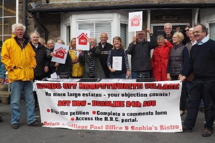 'No' to more new housing - Members of Hampsthwaite Action Group opposed to new housing developments in their village.