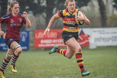 Action from Harrogate RUFC Ladies' promotion play-off victory over Bletchley. Picture: John Ashton/ickledot