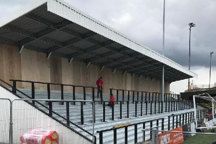 One of the new standing terraces at Harrogate Town's CNG Stadium.