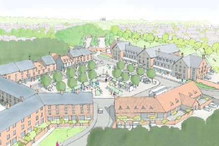 An artist's impression of Flaxby Park's proposed centre square.
