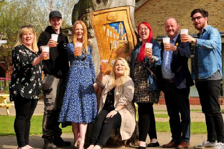 Henshaws Beer Festival organisers, sponsors and brewers -  Louise Elliott of Jelf Insurance, Matt Fortune of  Cold Bath Brewing, Emma Whitehead C.N.G, Rebecca Selby of C.N.G, Laura Clarangbold of C.N.G, Vincent Staunton Daleside Brewery and Rufus Beckett of Henshaws.