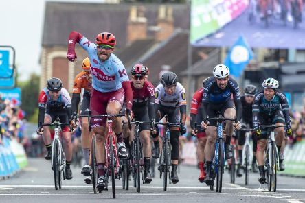 Rick Zabel wins stage two of the men's Tour de Yorkshire (Picture: Bruce Rollinson).