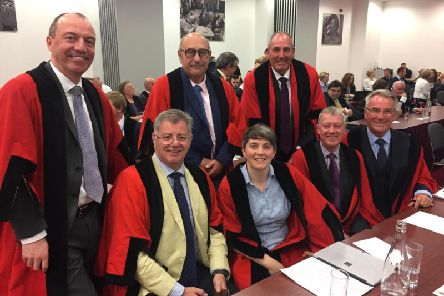 Harrogate Borough Council's unchanged cabinet at Monday's meeting, including leader Richard Cooper (far left) and Coun Burnett (fourth from left).