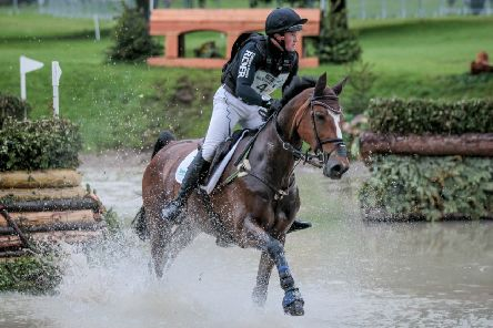 James Sommerville riding Talent on day three of the Bramham International Horse Trials - Equitrek CCI*** cross country event