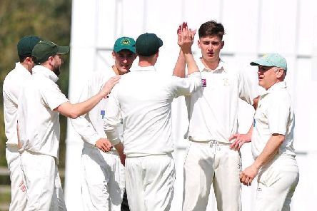 High-flying Follifoot CC celebrate a wicket for Josh Cutts. Picture: Gerard Binks